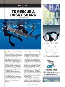 dusky shark rescue in scuba diving magazine